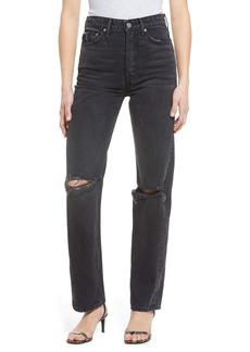 GRLFRND Mica Ripped High Waist Straight Leg Jeans (Lights Off)