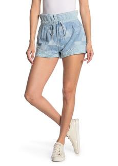 GRLFRND Lola Paperbag Waist Patchwork Denim Shorts