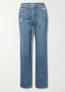 GRLFRND Mica Distressed High-rise Straight-leg Jeans