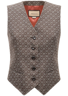 Gucci All Over Logo Jacquard Wool Vest