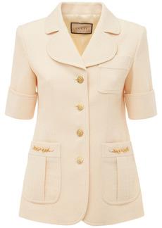 Gucci Argyle Wool Jacket W /leather Detail