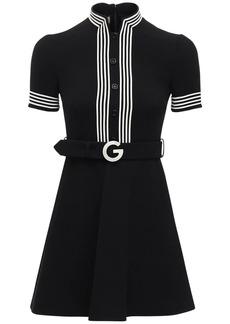 Gucci Belted Light Wool Crepe Mini Dress