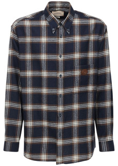Gucci Checked Wool Shirt W/ Leather Patch