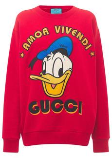 Gucci Cotton Jersey Sweatshirt W/ Donald Print