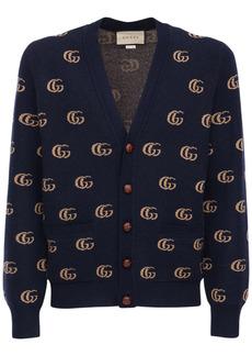 Gucci Double G Jacquard Wool Cardigan
