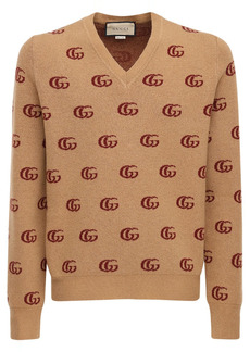 Gucci Double G Jacquard Wool V-neck Sweater