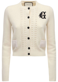 Gucci Embroidered Wool Knit Crop Cardigan