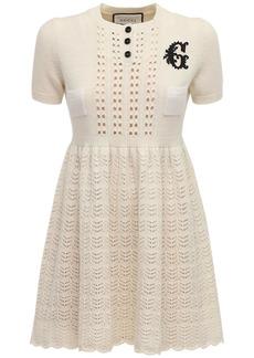Gucci Embroidered Wool Blend Knit Mini Dress