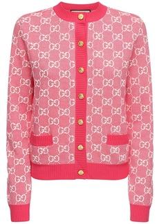 Gucci Gg Jacquard Knit Wool & Cotton Cardigan