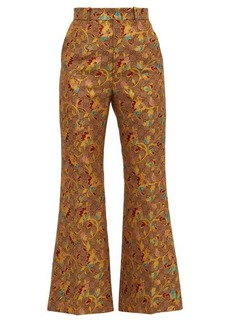 Gucci GG and floral-jacquard flared trousers