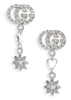 Gucci Flower & Double-G Diamond Drop Earrings