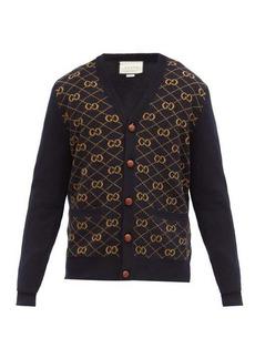 Gucci GG logo-jacquard V-neck wool cardigan