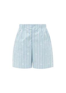 Gucci Logo-jacquard striped cotton-poplin shorts