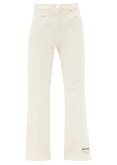 Gucci Logo-patch high-rise cropped-leg jeans