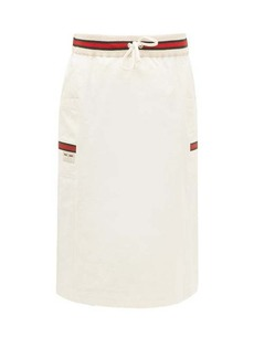 Gucci Web-striped side-pocket cotton skirt