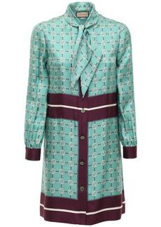 Gucci Interlock G Print Silk Mini Dress