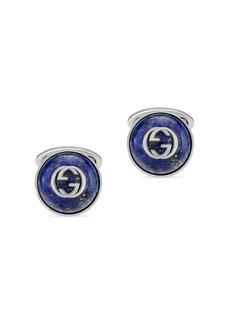 Gucci Interlocking G Sterling Silver Enamel Button Cufflinks
