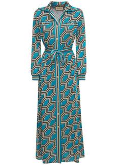Gucci Lamé Jacquard Printed Long Dress