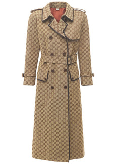Gucci Logo Belted Cotton Canvas Coat
