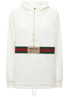 Gucci Logo Cotton Jersey Hoodie W/front Zip