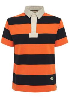 Gucci Logo Patch Striped Cotton Polo