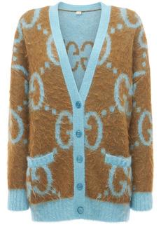 Gucci Logo Reversible Mohair Blend Cardigan