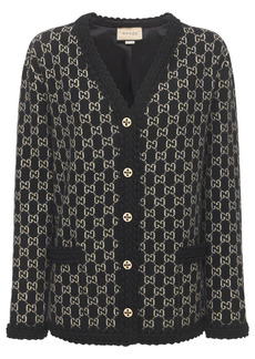 Gucci Logo Wool Jacquard Knit Cardigan