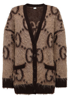Gucci Oversized Gg Mohair Blend Knit Cardigan