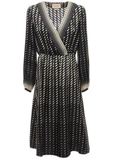 Gucci Printed Silk Dress W/ Scarf