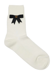 Gucci Stretch Cotton Blend Socks W/gg Bow