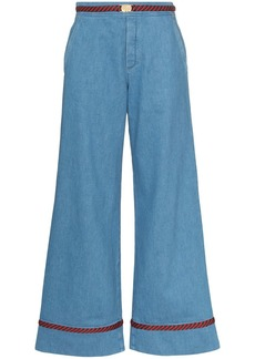 Gucci Web trim wide-leg jeans