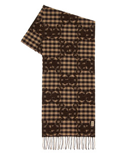 Gucci Wool Blend Check Logo Stole