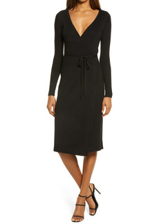 GUESS Everly Long Sleeve Wrap Sweater Dress
