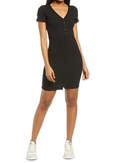 GUESS Raylynn Henley Rib Body-Con Dress