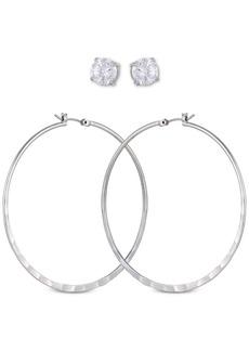 Guess Silver-Tone 2-Pc. Set Crystal Stud & Hoop Earrings