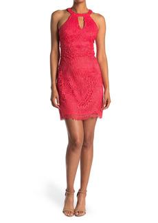 GUESS Keyhole Sleeveless Lace Mini Dress