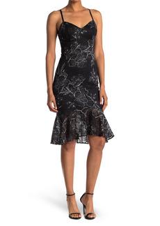 GUESS Printed Lace Midi Dress