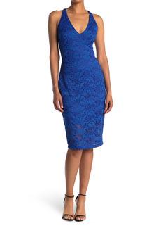GUESS V-Neck Strappy Lace Midi Dress