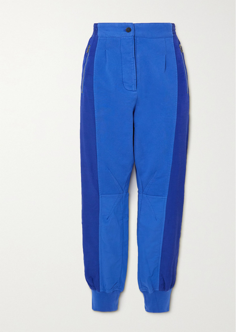 Haider Ackermann Cropped Paneled Cotton-jersey And Poplin Track Pants