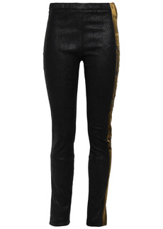 Haider Ackermann Woman Embroidered Satin-trimmed Coated Stretch-suede Leggings Black