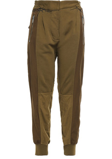 Haider Ackermann Woman Paneled Satin-twill And French Cotton-terry Track Pants Army Green