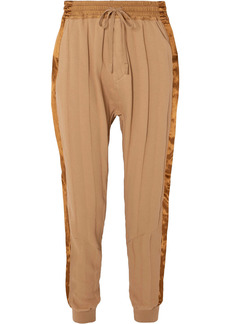 Haider Ackermann Woman Satin-trimmed Striped Cotton-jersey Track Pants Sand