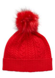 Halogen® Cash Chunky Faux Fur Pom Cashmere Beanie