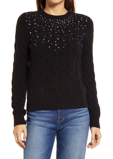 Halogen® Embellished Cable Sweater