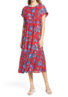 Halogen® Floral Crepe Midi Dress