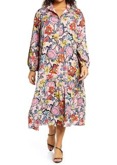 Halogen® Floral Popover Shirtdress (Plus Size)