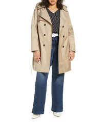 Halogen® Hooded Trench Coat (Plus Size)
