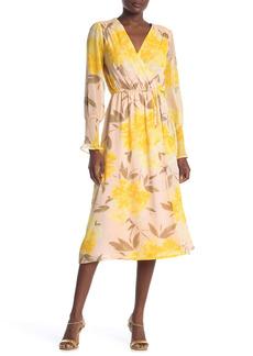 Halogen® Print Long Sleeve Faux Wrap Midi Dress