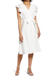 Halogen® Ruffle Sleeve Tie Waist Dress
