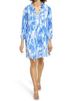 Halogen® Sunburst Pleat Long Sleeve Minidress